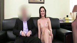 Business man creams her ass in hot trio