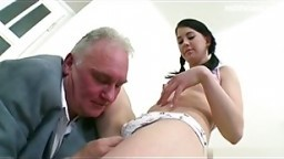 brunette young babe fuck by old man