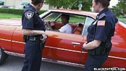 Female cops pull over black suspect and suck his cock