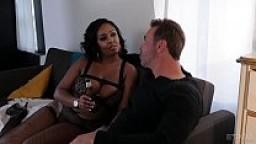 Ebony Layton Benton fucks in fishnet tights