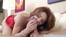 Busty mature squirts during cockriding