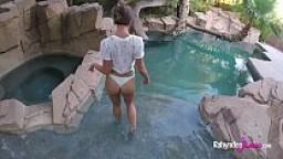 Rahyndee James backyard swimming pool fucking