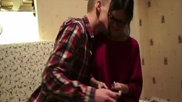 Casual Teen Sex - Cumshot on her nerdy glasses