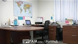 SpyFam Step son office anal fuck with step mom Cory Chase at work