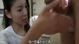 Japanese babe gives hot head and handjob